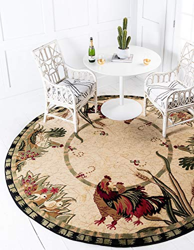 Rooster Rug for French Country Kitchen Kids and Pet Friendly