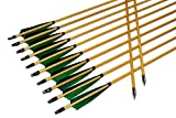 TTAD 12PK 32 inch Traditional Wooden Arrows Handmade Shaft Green Shield Turkey Feather Practice Archery for Recurve Longbow Hunting Arrows