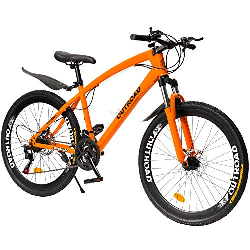 PanAme 26 Inch Mountain Bike,High Carbon Steel Frame Bike with 21 Speed Shimano Shifter and Double Disc Brake, Front Suspension Anti-Slip Bicycle for Adult, Orange