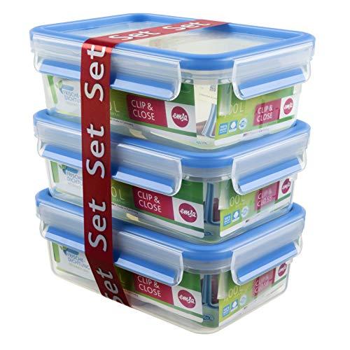 Emsa Clip&Close - Set de 3 Conservadores Herméticos de Plástico Rectangular de 1L, higiénico, no retiene olores ni sabores 100% libre de BPA