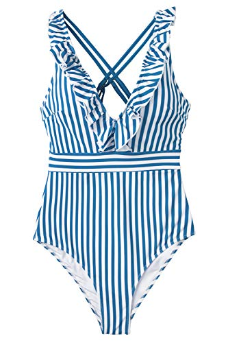 CUPSHE Women's Blue White Stripe Ruffled One Piece Swimsuit Large