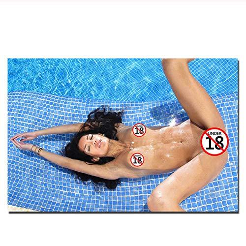 MULMF Sexy Mädchen im Pool Foto dekorative Poster und Drucke Leinwand Malerei Wandkunst Bild für Wohnzimmer Dekor- 60x80cm kein Rahmen