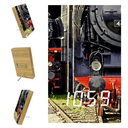 EZIOLY Eisenbahn Dampflok Lokomotive Digitaler Wecker Anzeige Zeit Temperatur Datum LED Holz Harz USB/Batteriebetrieben Sound Control Versorgung Energieeinsparung für Schlafzimmer Büro