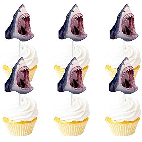 Sea Creature Dessert Cupcake Glitter Orca Shark Theme Decorations Baby Shower Boys Girls Happy Birthday Party Decor Supplies