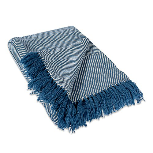 DII Home Essential Chevron Luxury Throw for Indoor/Outdoor Use, Camping, BBQ's, Beaches, Everyday Blanket, 48x67', Blue