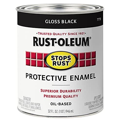 Rust-Oleum 7779502 Stops Rust Brush On Paint, Quart, Gloss Black, 32 Fl Oz