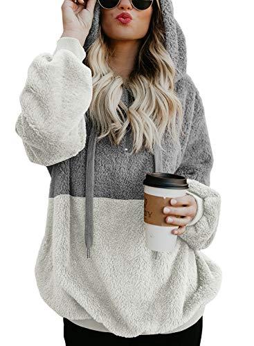 BLENCOT Womens Oversized Hoodies Color Block Zipper Cozy Sherpa Fleece Warm Fuzzy Hooded Pullover Sweatshirt Outwear Light Grey White XL