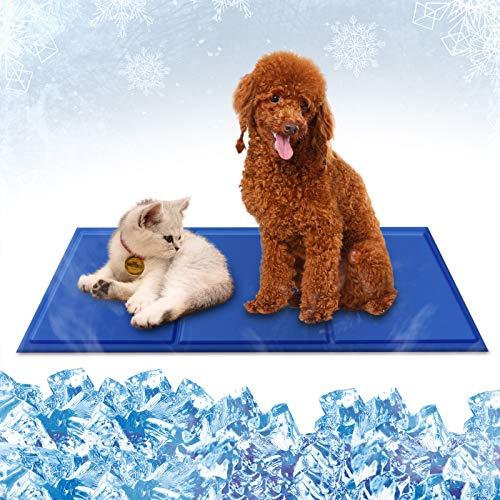 Haustier Kühlmatte, KNMY Kühlmatte für Hunde Katzen, Kühl Kaltgelpad für Haustier, Katzen Selbstkühlende Matte, Kältematte zur Regulierung der Körpertemperatur,Blau, 95*50cm