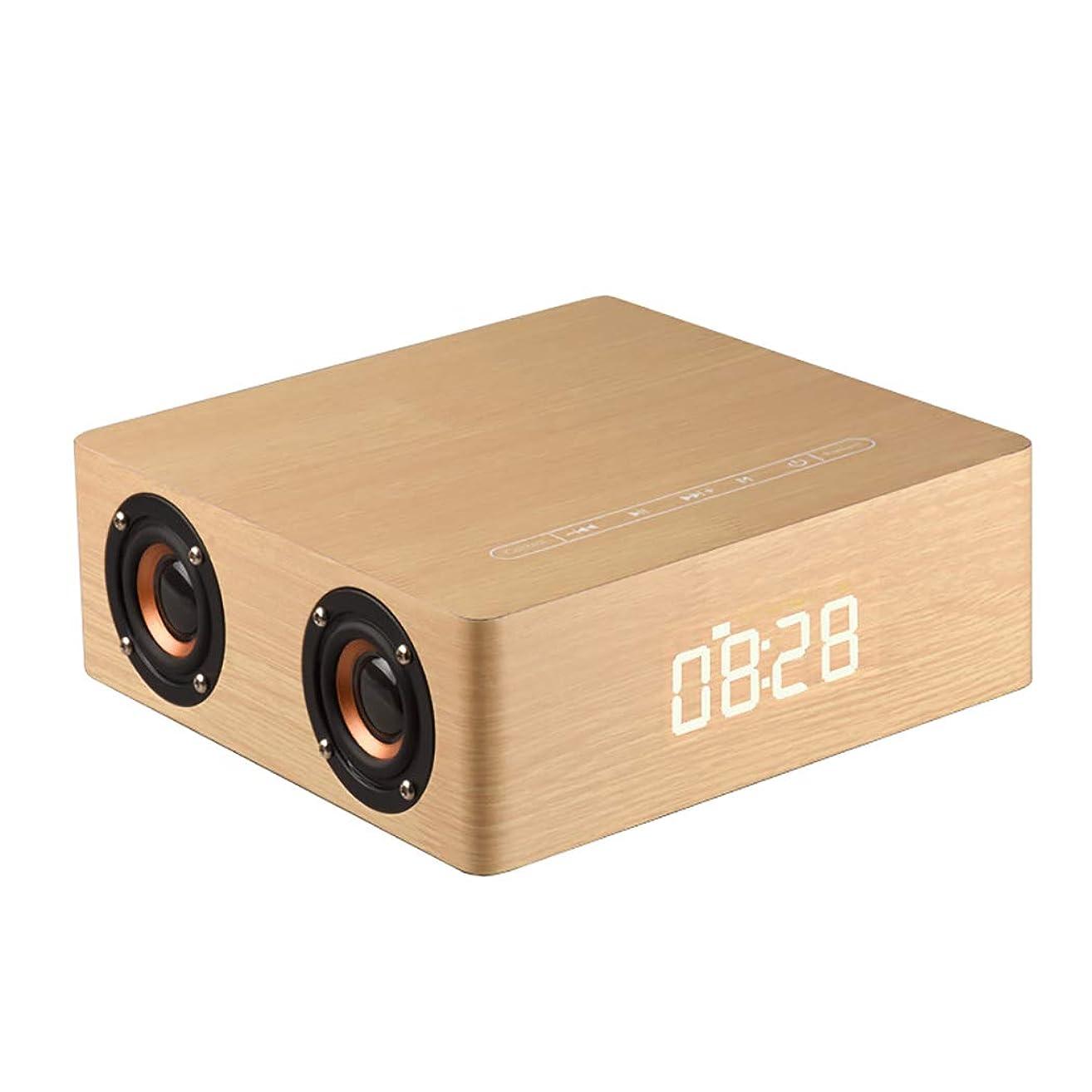 じゃがいも慈悲深いロマンチックGLJJQMY 木のブルートゥースのスピーカーの家の移動式デスクトップコンピュータ目覚し時計、210×210×75mm (Color : Yellow wood grain)