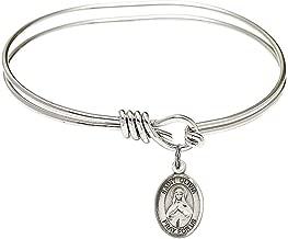 5 3/4 inch Oval Eye Hook Bangle Bracelet with a St. Olivia charm./Saint Olivia is the patron saint of Trivigliano, Italy. Memorial Day June 10th./Trivigliano, Italy