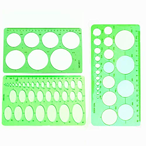 3 Stück kreisförmige Schablonen und ovale Schablonen KunststoffLineal Lineale mit Kreisschablonen Lineal zeichnen Für Studentenbürozeichnung
