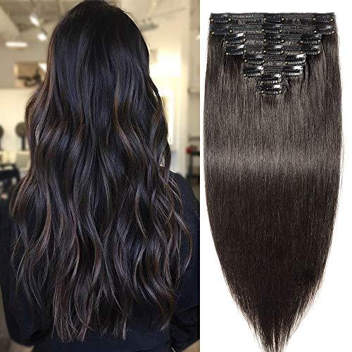 Extension a Clip Cheveux Naturel Maxi Volume Long - Remy Hair Double Weft 8 Pcs (#1B Noir naturel, 55cm-160g)