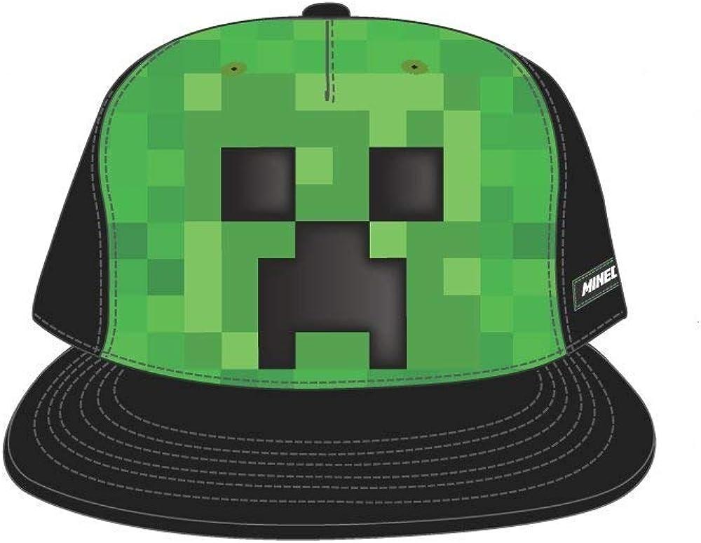 Bioworld Minecraft Creeper Face Snapback Hat Cap Youth Boys Size OSFM Black