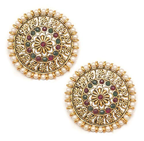 Pahal Traditional Red Green Kundan Floral Round Big Oxidized Gold Jhumka Earrings Indian White Pearl Bollywood Jewelry for Women