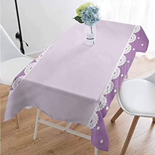 Mauve Rectangular tablecloths in a variety of colors and sizes Old Fashioned Ornate Lace Pattern with Classical Polka Dots Background Image Can be used for parties W70 x L95 Inch Lilac Lavender