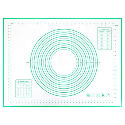 Gwhole Tappetino da Forno in Silicone (60x80cm), Extra Grande Stuoia di Rolling della Pasticceria del Silicone, Antiaderente, Resistente al Calore, Riutilizzabile, Verde