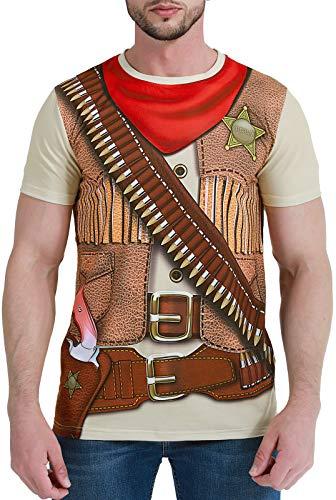 COSAVOROCK Disfraz de Vaquero para Hombre Camiseta (L, Sheriff)