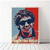 Qqwer バレンティーノロッシの装飾キャンバス絵画ハンサムな男の子クールな壁のアートワークモダンなベッドルームプリントポスター写真-50X70Cmx1Pcs-フレームなし