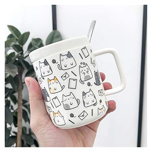 JSJJRFV Taza de Agua Lindas Gatos y Perros patrón Taza, Estilo novedoso Mezcla café café Taza Divertida cerámica Taza 400ml Capacidad de Agua (Color : 02)