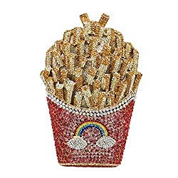 Red/Gold Crystal French Fries Chips Minaudiere Clutch Purse