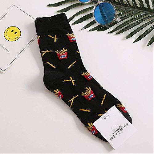 YMKXXB Socken Happy Socks Herren Lustiges Gekämmtes Baumwollkleid Beiläufige Hochzeitssocken Bunte Skateboard Socken Herren Muster Einheitsgröße Pommes Frites