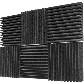 "Mybecca 6 Pack Acoustic Foam Wedge 2"" X 12"" X 12"" Studio Soundproofing Panels (6 Square Feet), Charcoal"