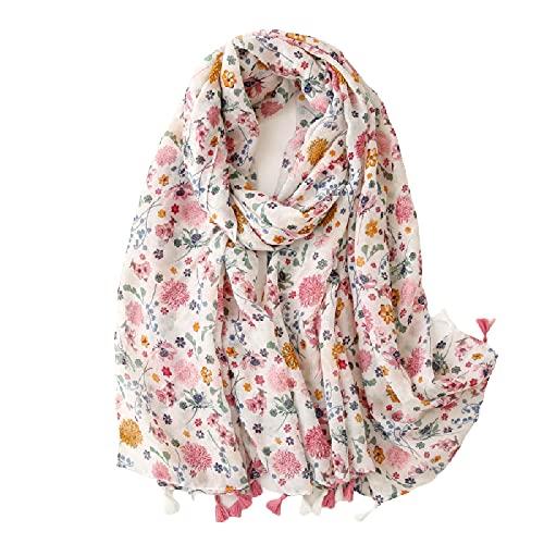 Bufanda Primavera/Verano sección delgada bufanda de seda balinesa Flores pequeñas golpean el color protector solar con flecos toalla de playa.