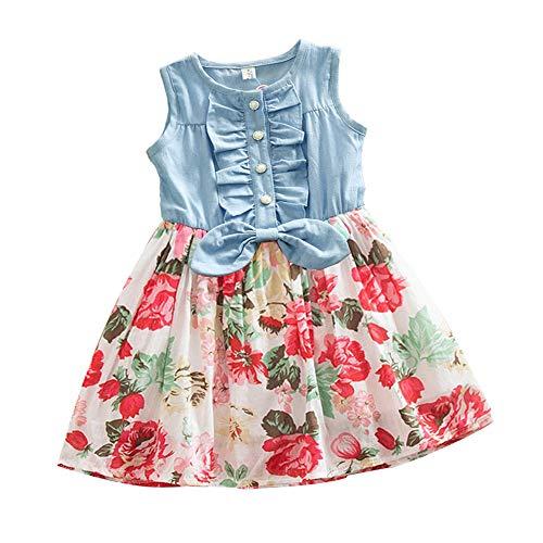 Uiophjkl-Kid dress eendelige kinderjurk baby meisjes prinses katoenen jurk zonnige mouwloze ruffle bow denim jurk bloemenprint tutu rok kleine kinderen zomerjurk casual partyjurken