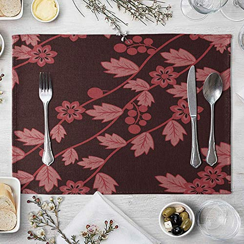 Red Modern Placemats Set of 4, Leaves Flower Table Mat Sets for Dining Room Heat Resistant 40x30cm