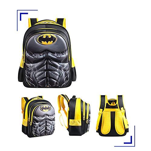 Home Arts Kinder-Rucksack Für Kinder 3D wasserdichte Schultasche Spiderman Batman Junior Rucksack Batman-H:38*T:12*W:28cm
