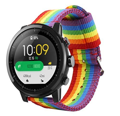 Estuyoya - Bracciale in Nylon compatibile con Xiaomi AMAZFIT Stratos 2 / Stratos 2S / Pace Colori di Orgoglio Gay LGBT, larghezza 22 mm Regolabile e Traspirante Stile Sportivo Casual Elegante