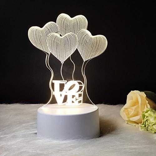 Spezial Stimmungsbeleuchtung 3D Nachtlicht Kinderbeleuchtung Riesenrad Nachtlicht 3 Farben Warmes Licht-Warmes Licht_Vier Herzen Liebe