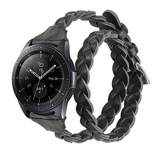 Glebo 20mm Gewebtes Leder Armbands Kompatibel mit Samsung Galaxy Watch 42mm /Watch 3 41mm /Active 40mm / Active 2 (40mm/44mm),Doppelschleife Uhrenarmband für Samsung Gear S2 Classic,Schwarz