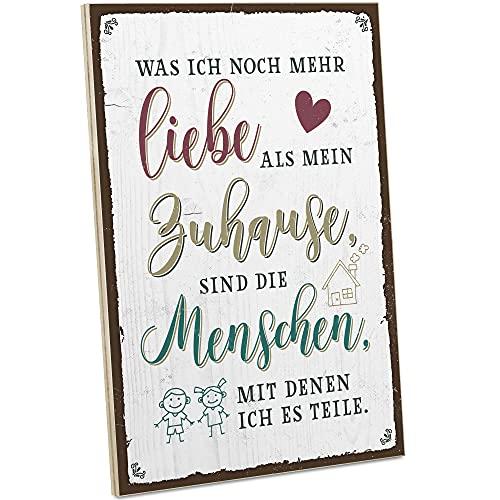ARTFAVES® Holzschild mit Spruch - Liebe - Zuhause - Menschen   Vintage Deko Schild zum Thema Familie   Shabby Chic Holzbild auch als Geschenk