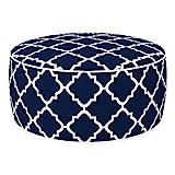 Aktive 79033 - Puff hinchable Ottoman, poliéster hilado, repele el agua, 53 x 23 cm, mosaico azul