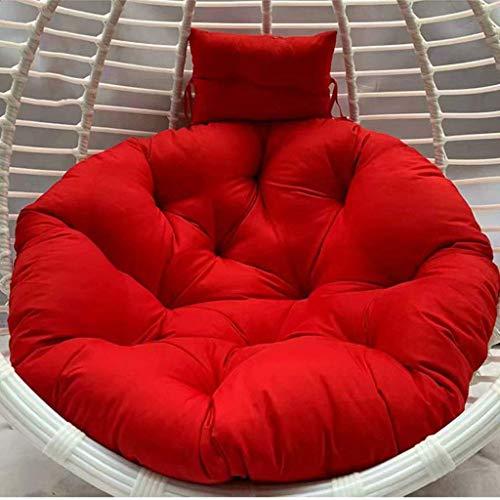ZHBH Cesta colgante para asiento colgante, cojín lavable de ratán, cojín de silla para colgar en interiores y exteriores, jardín, patio, tamaño: 110 x 110 cm (color: rojo) (excluido c