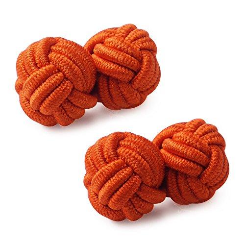 Honey Bear 1 Paar Herren/Damen Seide Stoff Knoten Seidenknoten Manschettenknöpfe für Hemd/Kleid zum (Orange)