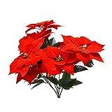 VOSAREA Real Touch Franela Artificial Navidad Flores Rojas Poinsettia arbustos Ramos de...