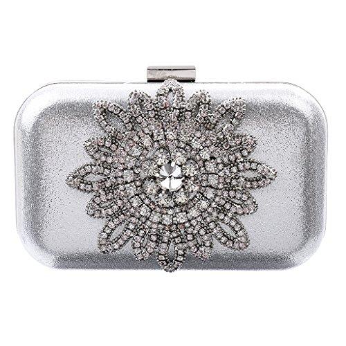 Borsetta Cristallo Girasole Diamante Borsa da Sera Cerimonia Nuziale Prom Accesorio Donna Ragazza - Argento