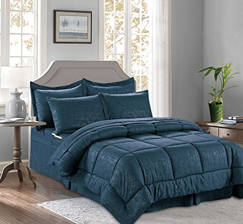 Elegant Comfort Best, Luxury, Coziest 8-Piece Bed-in-a-Bag Bamboo Pattern Comforter Set! Silky-Soft Complete Set Includes Bed Sheet Set with Double Sided Storage Pockets, Full/Queen, Navy