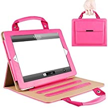 $25 » iPad 7th Generation Cover, TechCode Portable Handbag iPad Wallet Flip Case PU Leather Magnetic Stand Cover with Handle Pocket Sleeve for iPad 7th Generation 10.2 inch (Hot Pink03)