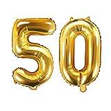 XXL Folien-Ballon/Zahl 50 in Gold/Geburtstags-Ballon zum 50. Geburtstag/Goldene Hochzeit/Alter / Deko Dekoration