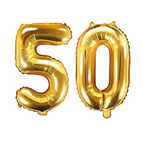 Ballon XXL en aluminium avec chiffre 50 en doré - Pour 50e anniversaire - Mariage doré - Décoration