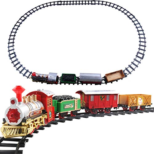 Gmsqj Juego De Trenes Navideños para Debajo del Árbol, Tren De Juguete Eléctrico para Niños con Luces Y Sonidos, Vías De Tren De 270 Cm, Regalo Musical De Navidad/Cumpleaños para Niños Y Niñas