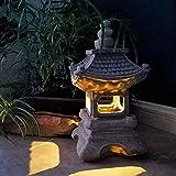 Cakunmik Outdoor LED Solar Pagode Laterne, japanische Pagoden Laterne Garten Ornament Laterne Garten Dekoration Laterne Solar Gartenlampe Solar Pagoda Licht, Grau