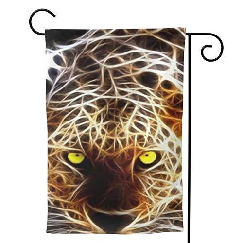 EINST Laser Leopard Garden Flag Vertical Double Sided Polyester Yard Outdoor Decor 12.5 x 18 Inches