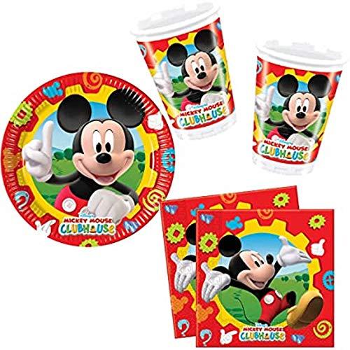 Procos - Juego de vajilla para fiestas (40 piezas, 10 platos, 10 vasos y 20 servilletas para cumpleaños infantiles y fiestas), diseño de Mickey Mouse de Disney