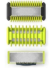 Philips OneBlade Ersättningsrakbladskit för ansikte & kropp - 1 rakblad ansikte, 1 rakblad för kroppen + 1 kroppskam - Passar på alla OneBlade-handtag - Livslängd upp till fyra månader - QP620/50