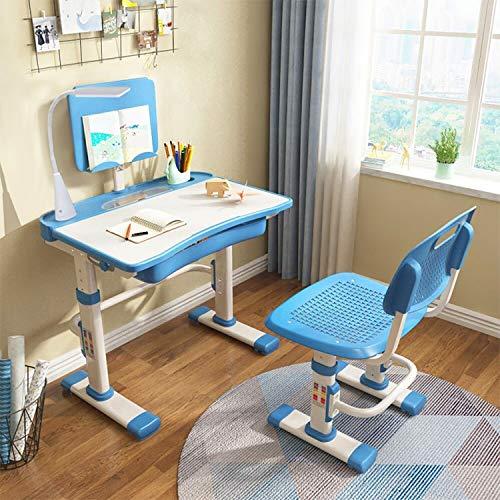 Yinleader Juego de sillas de escritorio para niños, ergonómicas, color azul cielo, altura ajustable, multifunción, mesa de estudiante con lámpara y soporte para libros
