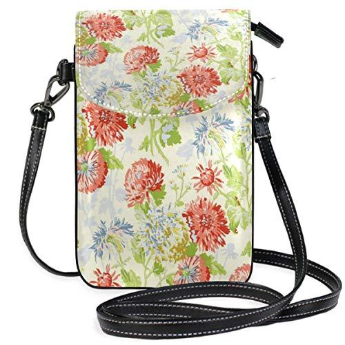 XCNGG Kleine Geldbörse Coroal On Yellow Cell Phone Purse Wallet for Women Girl Small Crossbody Purse Bags